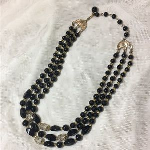 Jewelry - Vintage Japan Black Clear Bead Necklace